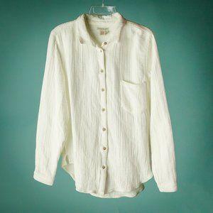 Carbon To Cobalt L White Textured Button Shirt